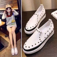 Shoes Galore - Platform Studded Slip-Ons