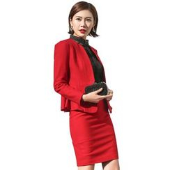 Aision - Peplum Jacket / Shirt / Pencil Skirt