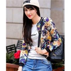 Yinaike - Floral Print Cropped Zip Jacket
