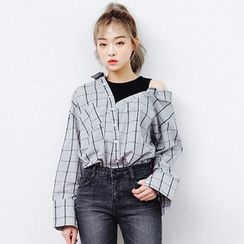 chuu - Inset Mock Tank Top Check Shirt