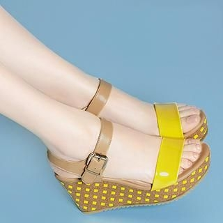 Exull - Check Wedge Sandals