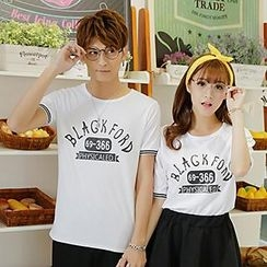 Lovebirds - Set: Short-Sleeve Printed Couple T-Shirt + Shorts / Skirt