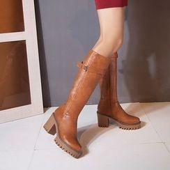 Pangmama - Chunky-Heel Platform Buckled Tall Boots