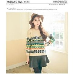 Hanako Shiratori - Set: Ethnic Pattern Sweater + A-Line Skirt