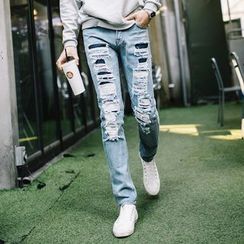 DANGOON - Distressed Straight-Cut Jeans