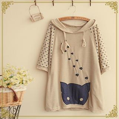 Fairyland - Hooded Cat Print Pullover