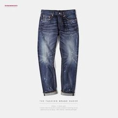 Newin - Paint Splattered Washed Slim-Fit Jeans