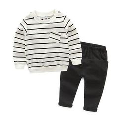 Seashells Kids - Kids Set: Striped Pullover + Sweatpants