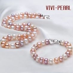 ViVi Pearl - Set: Freshwater Pearl Necklace + Freshwater Pearl Bracelet