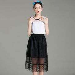 Cherry Dress - Set: Piped Organza Sleeveless Top + Skirt