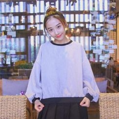 Eva Fashion - Lantern Sleeve Panel Sweatshirt