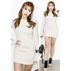 INSTYLEFIT - Crewneck Knit Bodycon Mini Dress