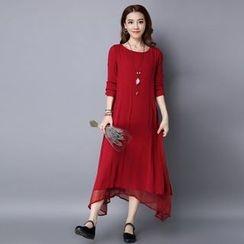Diosa - Long-Sleeve Linen Maxi Dress