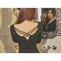 UUZONE - Cross-Black Bodycon Dress