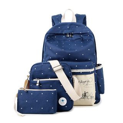 VIVA - Set: Dotted Canvas Backpack + Bodycross Bag + Pouch