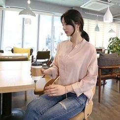 Hello sweety - Half-Placket Drop-Shoulder Shirt