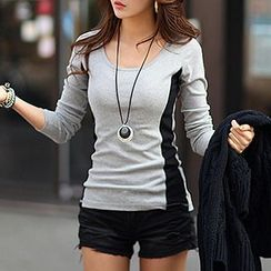 Ranee - Long-Sleeve Contrast-Color T-Shirt