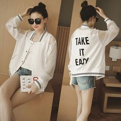 Ashlee - Lettering Chiffon Panel Baseball Jacket