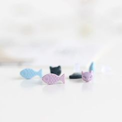 Porcelana - Cat and Fish Non-Matching Stud Earrings
