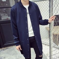 Besto - Plain Buttoned Long Jacket