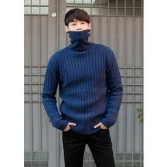 GERIO - Turtle-Neck Wool Blend Rib-Knit Sweater