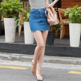 BRONCY - Frayed Scallop-Hem Denim Miniskirt