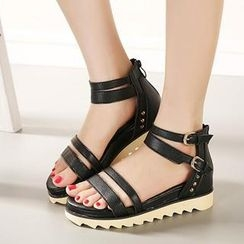 Mancienne - Faux-Leather Studded Sandals