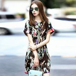 Queen Mulock - Short-Sleeve Camouflage Silk Dress