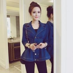 Honey Diary - Double-Breasted Peplum Denim Jacket