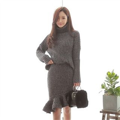 Babi n Pumkin - Set: Turtle-Neck Knit Sweater + Ruffled Asymmetric-Hem Skirt