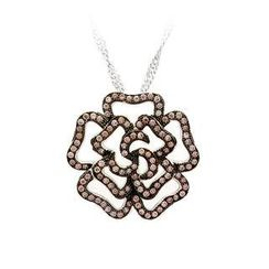 BELEC - 925 Sterling Silver Rose Pendant with Brown Cubic Zircon and Necklace