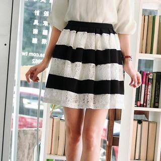 OrangeBear - Lace-Panel Striped A-Line Skirt