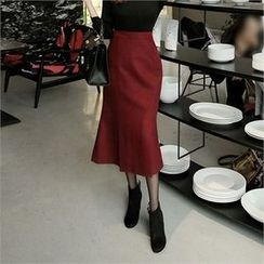 ZIZIBEZIRONG - High-Waist Pleated-Hem Midi Skirt
