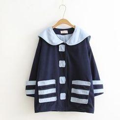 Vateddy - Sailor Collar Woolen Coat