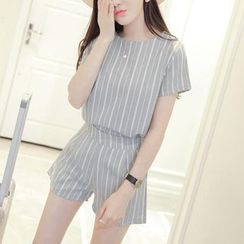 HazyDazy - Set: Striped Short-Sleeve Blouse + High Waist Shorts