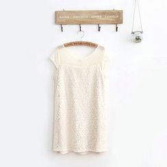 11.STREET - Lace Panel Short-Sleeve Dress