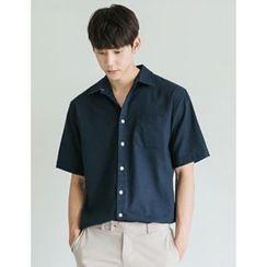 STYLEMAN - Short-Sleeve Linen-Blend Shirt