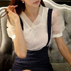 粉红大布娃娃 - 短袖饰蝶结上衣