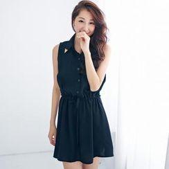 BAIMOMO - 抽繩腰領尖無袖襯衫裙