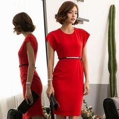 Eleganza - Short-Sleeve Plain Sheath Dress