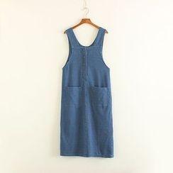 Mushi - Pocketed Buttoned Denim Pinafore Dress