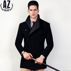 Antszone - 羊毛混纺饰扣外套