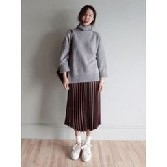 maybe-baby - Faux-Leather Pleated Skirt