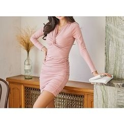UUZONE - Knot-Front Shirred Dress