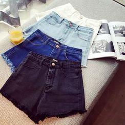 IndiGirl - Washed Fringe Denim Shorts