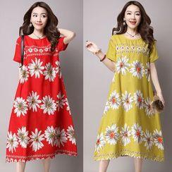 GLIT - Floral Print Short-Sleeve Midi Dress