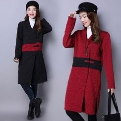 Splashmix - Contrast-Color Buttoned Coat