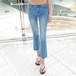 PIPPIN - Fringe-Hem Boot-Cut Jeans
