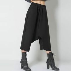 FASHION DIVA - Band-Waist Cropped Harem Pants