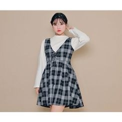 HOTPING - Sleeveless Checked A-Line Dress